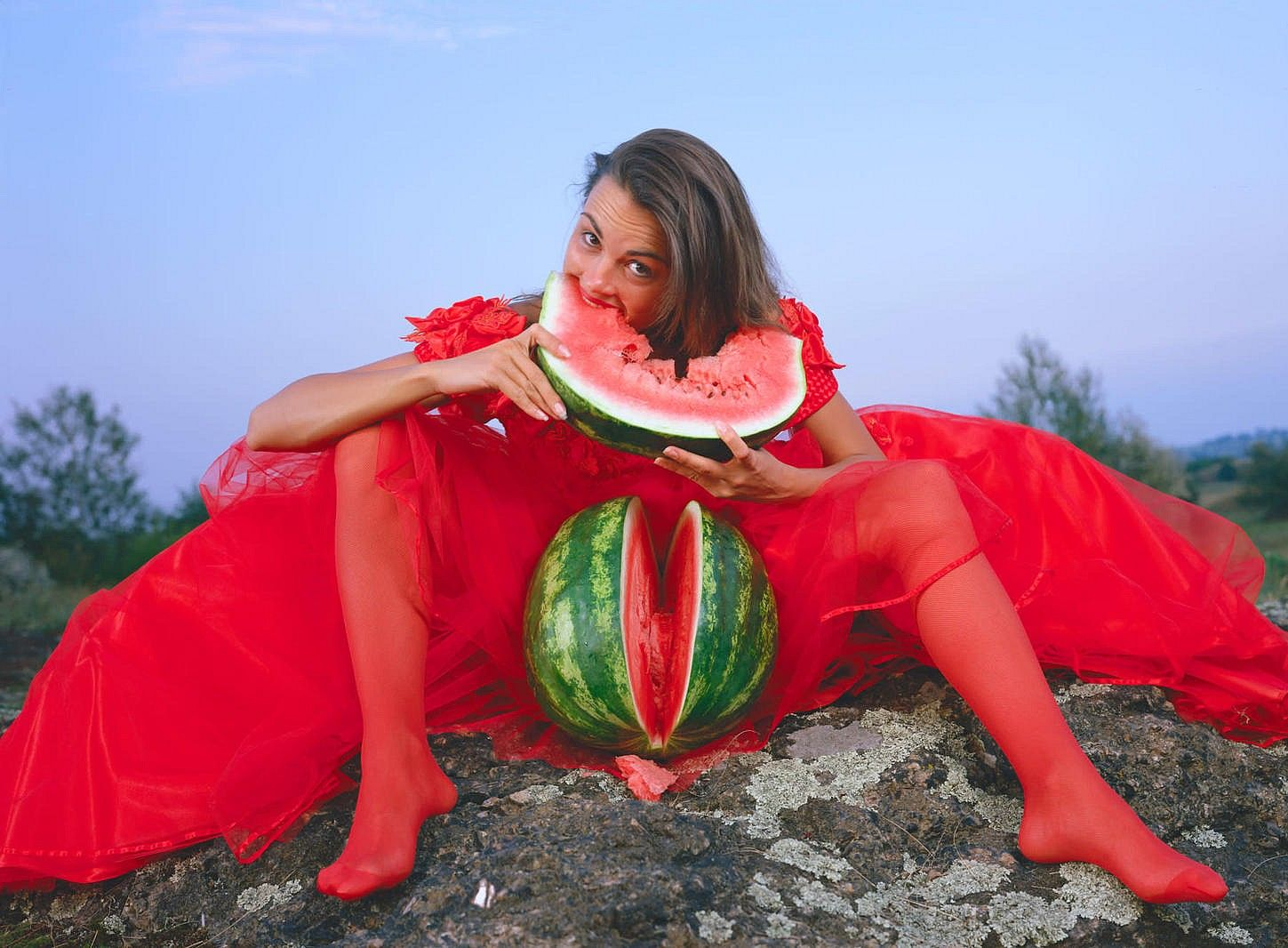 "Girl with a watermelon from the ""Fears of a White Man"" series"